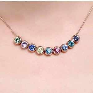 Feshionn IOBI Necklaces Spectrum Multi-Color Bezel Set Austrian Crystal Slide Necklace