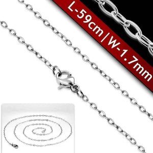 Feshionn IOBI Necklaces Stainless Steel / 23 inch Mini Oval Link Style Stainless Steel Necklace Chain 18 or 23 inches