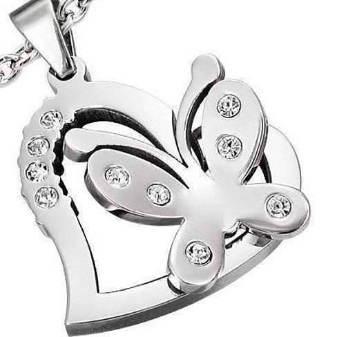Feshionn IOBI Necklaces Stainless Steel 3D Butterfly Heart Necklace