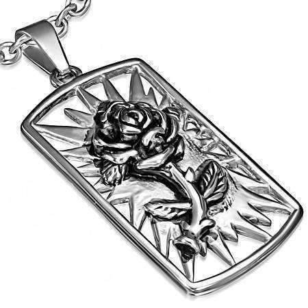 Feshionn IOBI Necklaces Stainless Steel 3D Rose Embossed Dog Tag Pendant Stainless Steel Necklace
