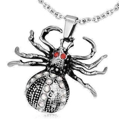 Feshionn IOBI Necklaces Stainless Steel Arachnophobia CZ Stainless Steel Spider Necklace