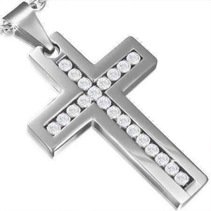 Feshionn IOBI Necklaces Stainless Steel Brilliant CZ Diamond Cross