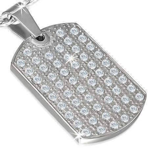 Feshionn IOBI Necklaces Stainless Steel CZ Encrusted Stainless Steel Dog Tag Pendant Necklace