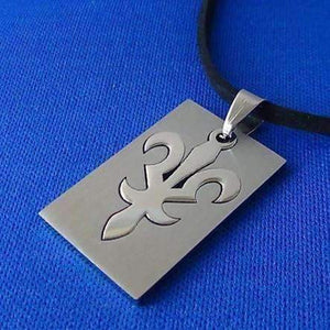 Feshionn IOBI Necklaces Stainless Steel Fleur De Lis 2 Piece Cut-Out Dog Tag Pendant Stainless Steel Necklace