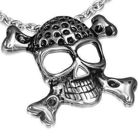 Feshionn IOBI Necklaces Stainless Steel Jolly Roger Pirate Skull & Crossbones Stainless Steel Pendant Necklace