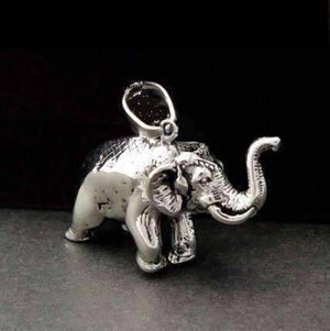 Feshionn IOBI Necklaces Stainless Steel Lucky Elephant 3D Solid Stainless Steel Pendant Necklace