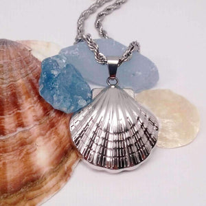 Feshionn IOBI Necklaces Stainless Steel Oceanside Stainless Steel Puffed Clam Shell Pendant Necklace