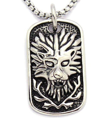 "Feshionn IOBI Necklaces Stainless Steel ""Pride"" Embossed Lion's Head Dog Tag Pendant Stainless Steel Necklace"