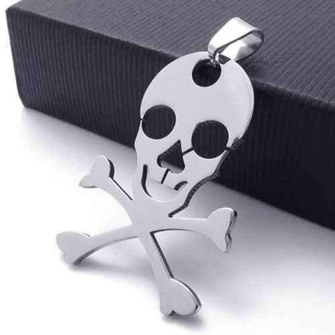 Feshionn IOBI Necklaces Stainless Steel Skull & Crossbones Stainless Steel Pendant Necklace