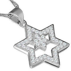 Feshionn IOBI Necklaces Stainless Steel Sparkly Double Star of David Necklace