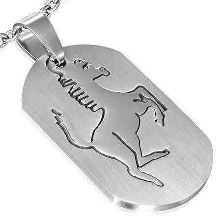 Feshionn IOBI Necklaces Stainless Steel Stallion 2 Piece Cut-Out Dog Tag Pendant Stainless Steel Necklace