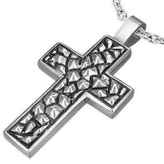 Feshionn IOBI Necklaces Stainless Steel Traditional Oxygenated Cross Necklace for Men or Women