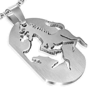 Feshionn IOBI Necklaces Stallion 2 Piece Cut-Out Dog Tag Pendant Stainless Steel Necklace
