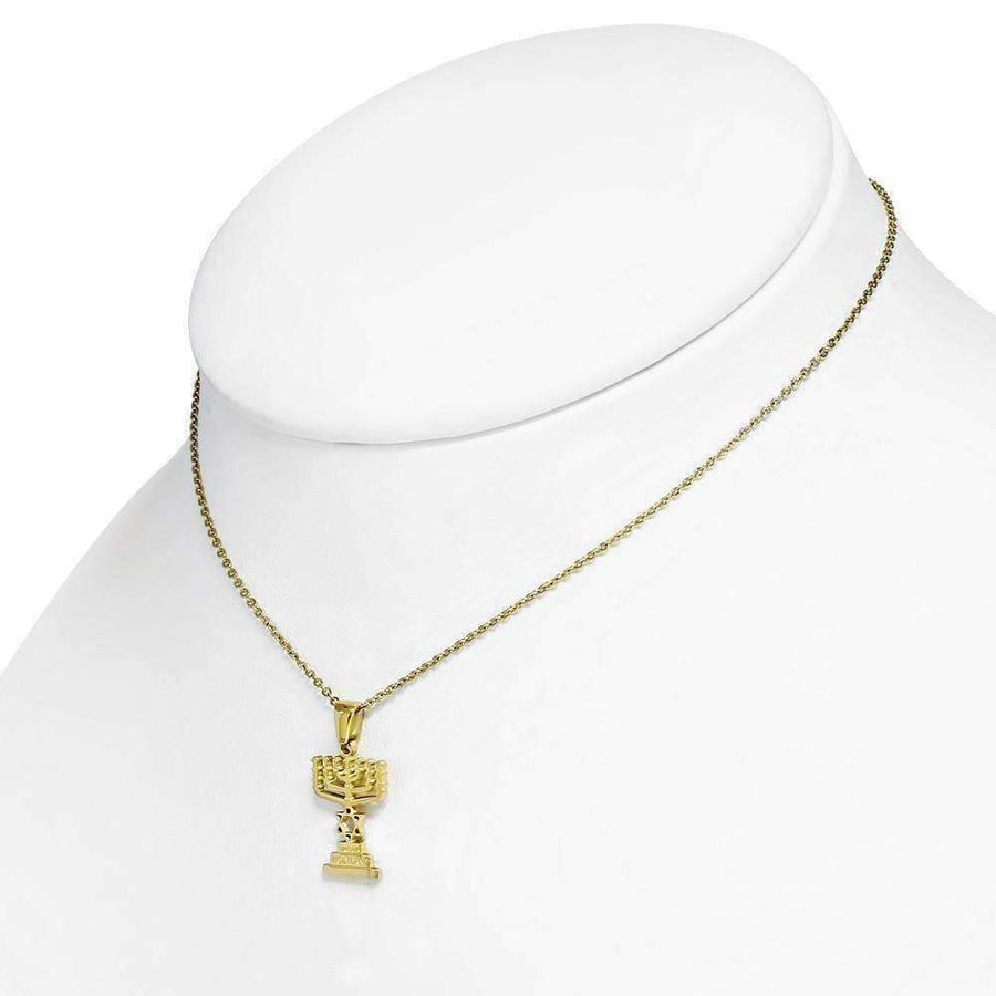 Feshionn IOBI Necklaces Gold Star of David Menorah Pendant and Necklace in Gold Plated Stainless Steel