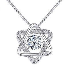 Feshionn IOBI Necklaces Star of David With Swivel Crystal Sterling Silver Pendant Necklace