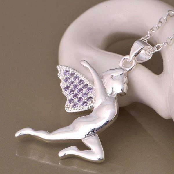 Feshionn IOBI Necklaces Sterling Silver CLEARANCE - Floating Fairy with Amethyst Pavé Wings Sterling Silver Necklace