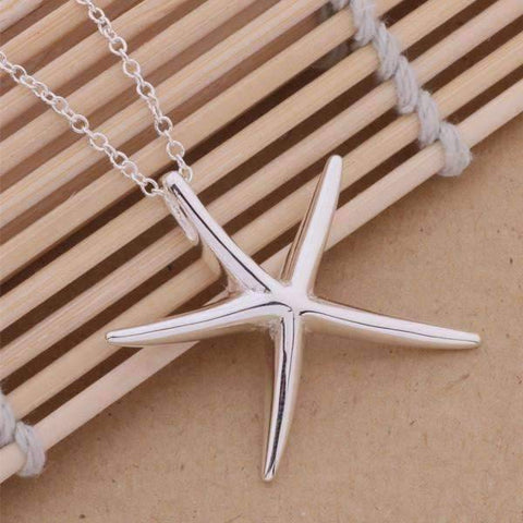 Feshionn IOBI Necklaces Sterling Silver Large Whimsical Starfish Pendant Sterling Silver Necklace