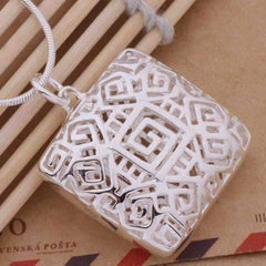 Tribal Pattern Cut-Out Square Cage Sterling Silver Necklace