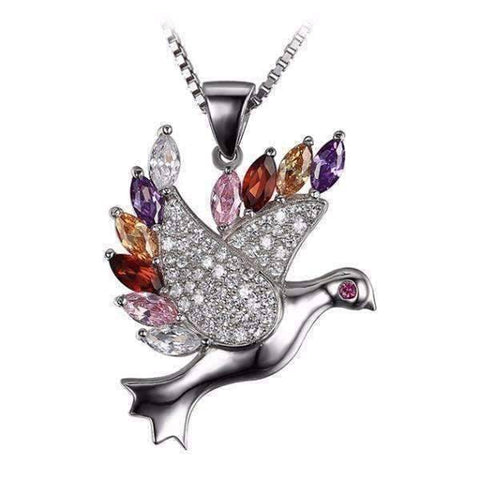 "Feshionn IOBI Necklaces Sterling Silver ""Peace"" Multi Color Zirconia Dove Pendant Necklace Sterling Silver"