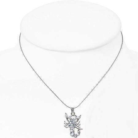 "Feshionn IOBI Necklaces White ""Stunning Scorpio"" Cubic Zirconia Zodiac Pendant Necklace"