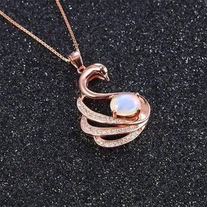 Feshionn IOBI Necklaces Swan Lake Opal and Rose Gold IOBI Precious Gems Necklace