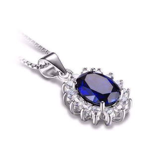 Feshionn IOBI Necklaces Swiss Blue Oval Cut 2.5CT Simulated Sapphire IOBI Precious Gems Halo Pendant Necklace