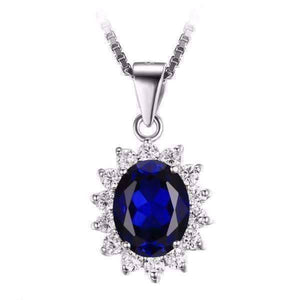 Feshionn IOBI Necklaces Swiss Blue Pendant Swiss Blue Oval Cut 2.5CT Simulated Sapphire IOBI Precious Gems Halo Pendant Necklace