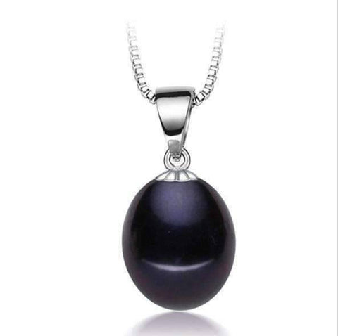 Feshionn IOBI Necklaces Tahitian Black Genuine Freshwater Pearl Drop Necklace