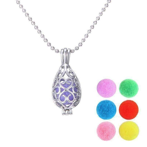 Feshionn IOBI Necklaces Teardrop / Platinum Plated Filigree Aromatherapy Scent Diffuser Locket Necklace