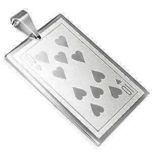 Feshionn IOBI Necklaces Ten of Hearts Casino Poker Playing Cards Stainless Steel Pendant Necklace ~ Your Choice