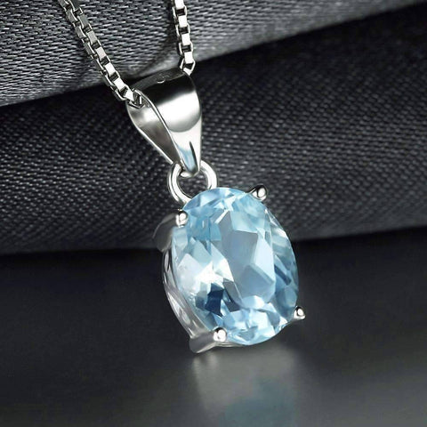 Feshionn IOBI Necklaces Topaz Oval Pendant Ice Blue Genuine Topaz Oval Cut 2CT IOBI Precious Gems Pendant Necklace