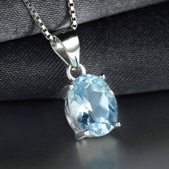 Ice Blue Genuine Topaz Oval Cut 2CT IOBI Precious Gems Pendant Necklace