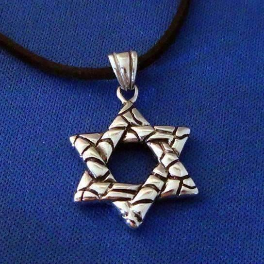 Feshionn IOBI Necklaces Stainless Steel Traditional Oxygenated Star of David Necklace for Men or Women