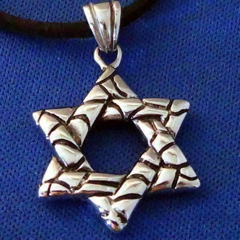 Feshionn IOBI Necklaces Traditional Oxygenated Star of David Necklace for Men or Women