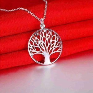 Feshionn IOBI Necklaces Tree of Life Silver Medallion Necklace