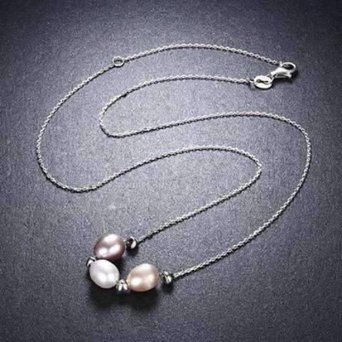 Feshionn IOBI Necklaces Tri-Color Freshwater Pearl Sterling Silver Slide Necklace
