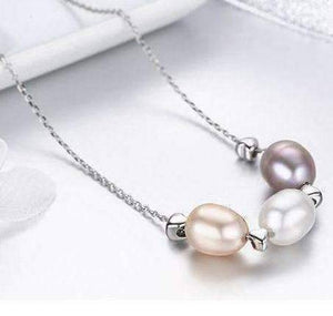 Feshionn IOBI Necklaces Tri-Color Tri-Color Freshwater Pearl Sterling Silver Slide Necklace