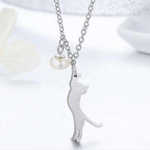 Feshionn IOBI Necklaces Trouble Dangling Kitten and Pearl Ball Sterling Silver Necklace