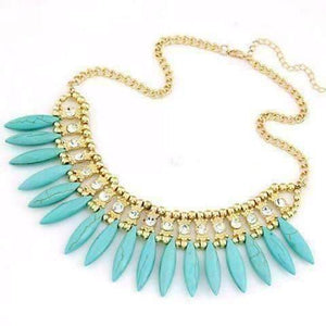 Feshionn IOBI Necklaces Turquoise Waters Funky Glam Bright Boho Bead and Rhinestone Collar Necklace