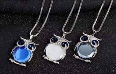 "Feshionn IOBI Necklaces Twilight Blue ""Night Shades"" Austrian Crystal Owl Cabochon Pendant Necklace ~ Three Colors to Choose!"