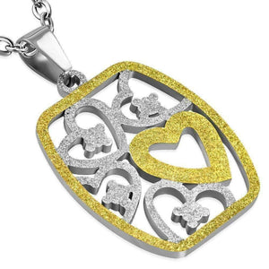 Feshionn IOBI Necklaces Two Tone CLEARANCE - Full of Love Two Tone Hearts Gold Plated 316 Stainless Steel Necklace Pendant