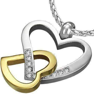 Feshionn IOBI Necklaces Two Tone Light Hearted Two Tone CZ Accented Hearts Gold Plated Stainless Steel Necklace Pendant