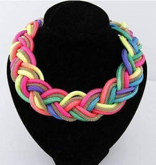 Vibrant Braided Mesh Choker Necklace