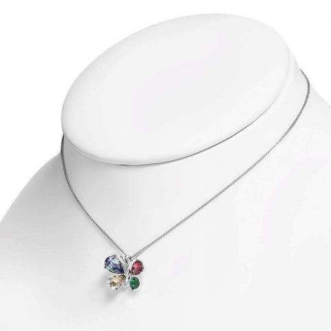 Feshionn IOBI Necklaces Whimiscal Butterfly Multi-Colored Crystal Pendant Necklace