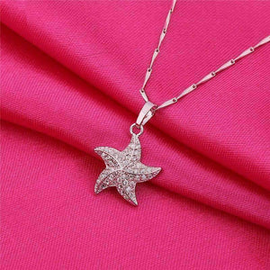 Feshionn IOBI Necklaces White Gold Plated Mini Dancing Micro Pave Starfish Pendant Necklace