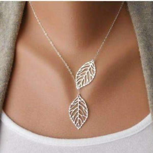 Feshionn IOBI Necklaces White Gold Plated ON SALE - Leaf Tassle Necklace in Yellow Gold or White Gold