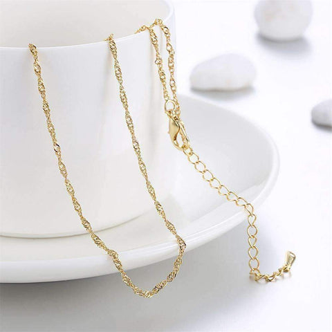 Feshionn IOBI Necklaces Yellow 18 inch Fine Singapore Link Chain Necklace in Three Colors