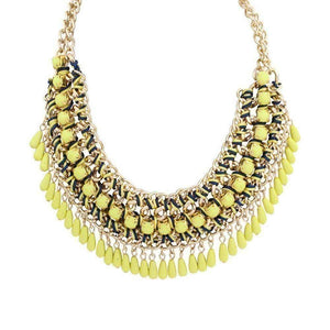 Feshionn IOBI Necklaces Yellow Bohemia Weave Beaded Choker Necklace