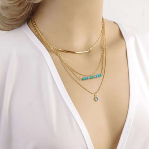 Feshionn IOBI Necklaces Yellow Gold Delicately Layered Gold and Turquoise Necklace