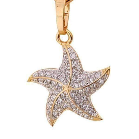 Feshionn IOBI Necklaces Yellow Gold Plated Mini Dancing Micro Pave Starfish Pendant Necklace